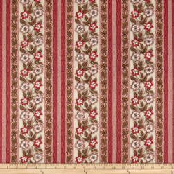 Andover Windermere Floral Stripe Rose Fabric