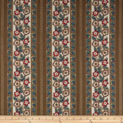 Andover Windermere Floral Stripe Teal Fabric