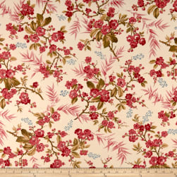 Andover Little Sweethearts Bouquet Raspberry Fabric