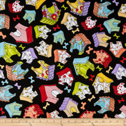 Loralie Designs Joy Dog Happy Houses Black Fabric