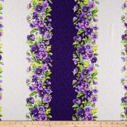 Maywood Studio Emma's Garden Pansy Stripe Purple/Cream Fabric