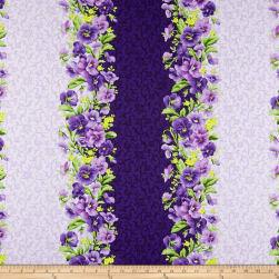 Maywood Studio Emma's Garden Pansy Stripe Purple Fabric