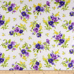 Maywood Studio Emma's Garden Pansy Bouquets Cream Fabric
