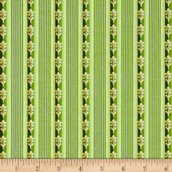 Maywood Studio Emma's Garden Little Stripe Green Fabric