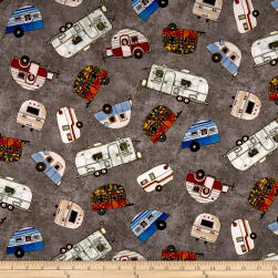 Maywood Studio Quilter's Road Trip Trailers Gray Fabric