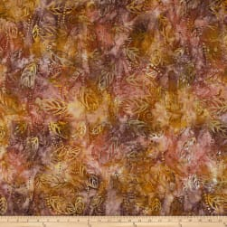 Wilmington Batiks Floating Leaves Brown/Yellow Fabric
