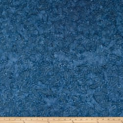Wilmington Batiks Leaves and Circles Blue Fabric