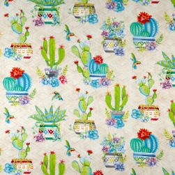 Wilmington Humming Along Potted Cactus Allover Tan Fabric