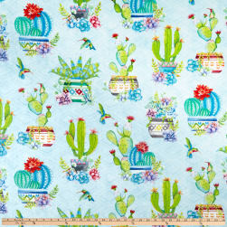 Wilmington Humming Along Potted Cactus Allover Blue Fabric