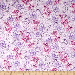 Wilmington Humming Along Succulents Purple Fabric