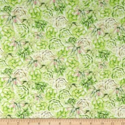 Wilmington Humming Along Succulents Green Fabric