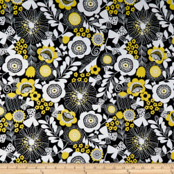 Wilmington Sunny Days Large Floral Black Fabric
