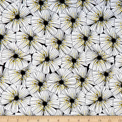 Wilmington Sunny Days Dotted Floral Black Fabric