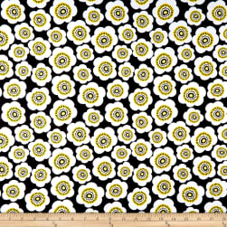 Wilmington Sunny Days Packed Daisies Black Fabric