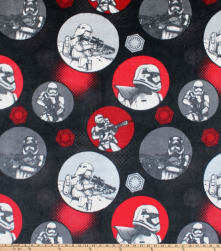 Star Wars Startrooper Circles Fleece Black Fabric
