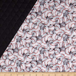 Paintbrush Studio Pre-Quilted Baseball White/Black/Red Fabric
