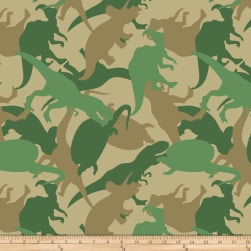 Dino Camo Double Brushed Fleece Green