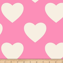 Hearts Double Brushed Fleece Pink Fabric