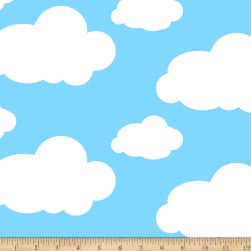 Sky's The Limit Double Brushed Fleece Blue Fabric