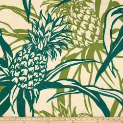Trans-Pacific Textiles Pineapple Canvas Cream/Jade Fabric