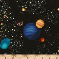 Timeless Treasures Jersey Knit Solar System Black Fabric