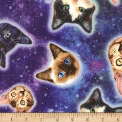 Timeless Treasures Jersey Knit Cat Heads In Space