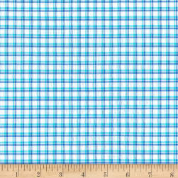 Kaufman Cote D'Azur Seersucker Mini Check Turquoise/Blue Fabric