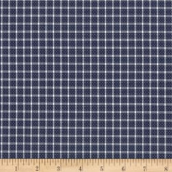 Kaufman Saville Shirt Woven Dot Check Navy