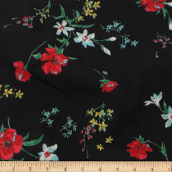 Telio Robin Poly Faille Floral Black/Red Fabric
