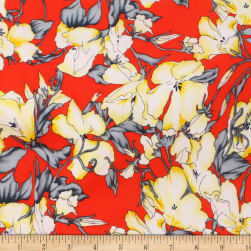 Telio Robin Poly Faille Floral Red Maize Fabric