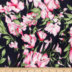 Telio Robin Poly Faille Floral Navy/Fuschia Fabric