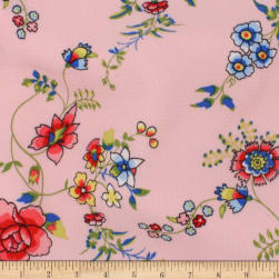 Telio Polyester Pebble Crepe Print Floral Pink Fabric