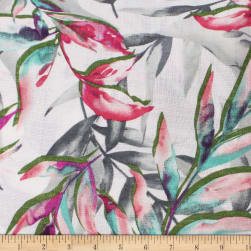 Telio Lilia Linen Look Polyester Print Foliage Pink Fabric