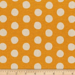 Kaufman Sevenberry Canvas Natural Dots Gold Fabric