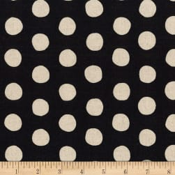 Kaufman Sevenberry Canvas Natural Dots Black