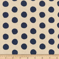 Kaufman Sevenberry Canvas Natural Dots Navy Fabric