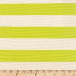 Kaufman Sevenberry Canvas Stripe Heavy Weight Lime Fabric