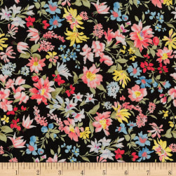 Kaufman Sevenberry: Petite Garden Lawn Flowers Black Fabric
