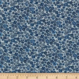 Kaufman Lucinda Rayon Lawn Indigo and White Flowers