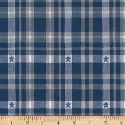 Kaufman Ponderosa Plaids Star Dobby Navy Fabric