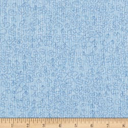 Kaufman Polk Essex Homespun Doodle Paris Blue Fabric
