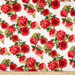 Double Brushed Poly Spandex Jersey Knit Roses Red