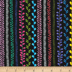 Michael Miller Les Jardins Vine Stripe Black Fabric