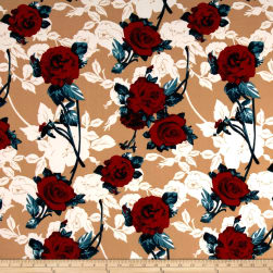 Liverpool Double Knit Flaminco Roses Taupe Fabric