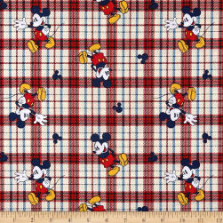 Disney Cotton Mickey On Woven Plaid Red Fabric