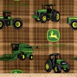 John Deere Everyday Fleece Tractors and Plaids Brown
