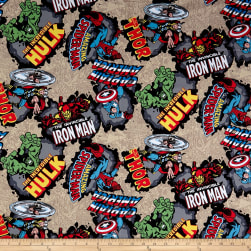 Marvel Comics Cotton Comic Burst Red Fabric