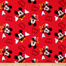 Disney Mickey Fleece Mickey And Stars Red Fabric