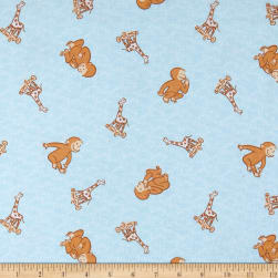 Universal Curious George Cotton Flannel Toyland Baby Blue