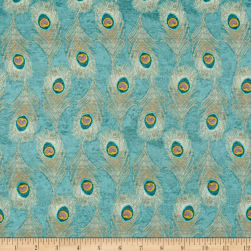 Springs Creative Indian Peacock Feathers Mint Fabric